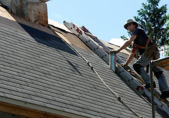 Man installing new roof